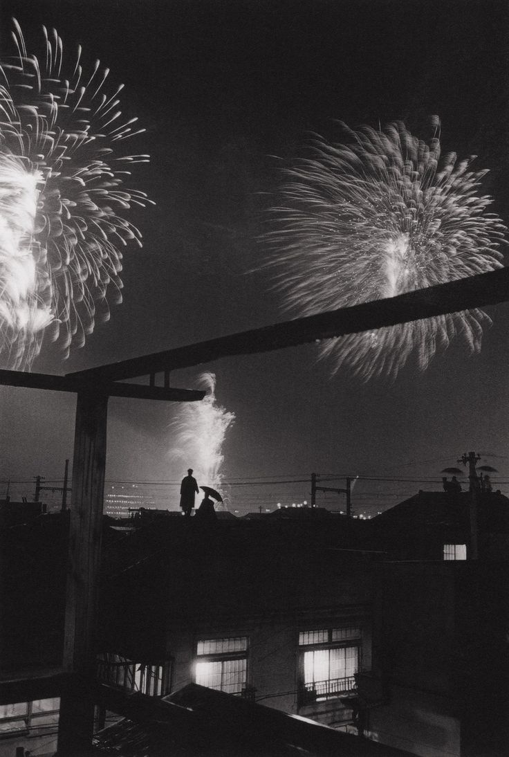 Ihei Kimura's Fireworks Festival By The River, 1953 (via HistoryImg) thanks to gacougnol and furtho