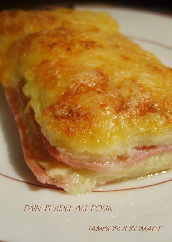 Version de pain perdu au four mélant le crémeux du fromage, l'onctuosité du pain trempé dans du lait et le côté salé.. donné par le jambon... On se régale... car c'est facile, et on aime ça !: