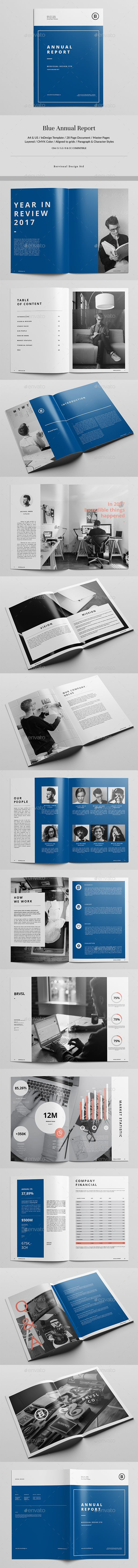 Blue Report Template — InDesign INDD #report template #book • Download ➝ https://graphicriver.net/item/blue-report-template/19722783?ref=pxcr