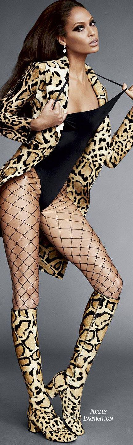 Joan Smalls wears La Perla fishnets in Carine Roitfeld's (editor-in-chief at U.S. Harper's Bazaar) Icon editorial for the September issue of Harper's Bazaar | Purely Inspiration