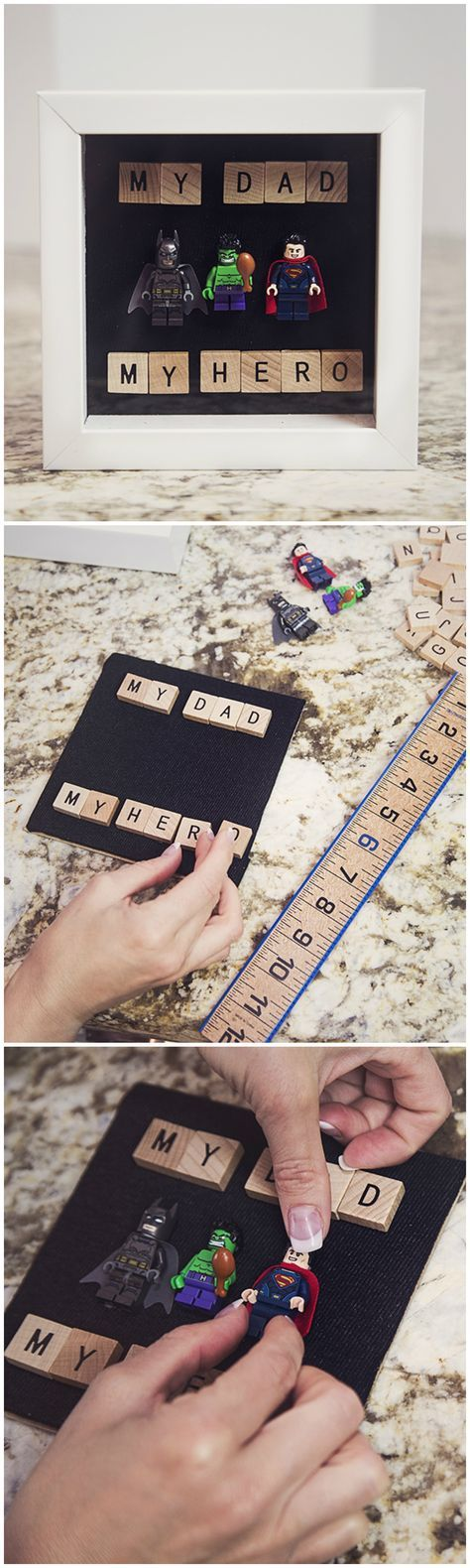 DIY: Father's Day Superhero Keepsake! Happy Father's Day, Father's Day, Father, Dad, Daddy, craft, diy, easy diy, easy crafy, scrabble, superhero, superheroes, gift, gift ideas, father's day gift idea, legos, art, crafty, fathers day, holiday,