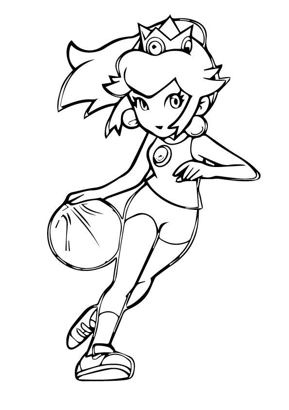 Princess Peach Coloring Pages Playing Basketball Ausdrucken
