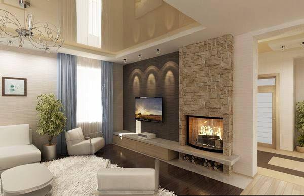 Sal n de estilo moderno con chimenea revestida con piedra for Salon de piedra