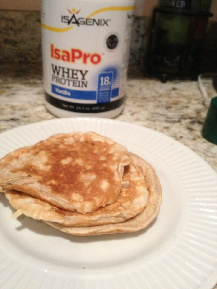 These are great for breakfast, but they also make a great snack any day! 2 egg whites, 1 scoop vanilla whey protein powder (I use Isagenix isapro protein) 1/2 banana mashed 1 tsp cinnamon Makes 1 s...