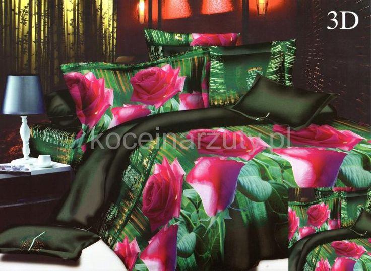 Różowe róże pościel na łóżko w kolorze zielonym