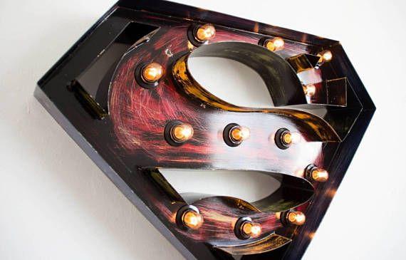 Superman kids night light lamp-superman logo with lights-ligthed superman sign-wooden shelf superman-gift for boy-superman birthday gift