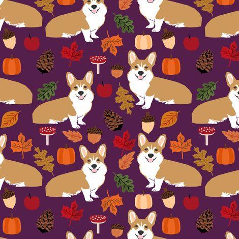 corgi autumn leaves fall pumpkin pinecones acorn autumns corgis dog breed fabric fabric by petfriendly on Spoonflower - custom fabric
