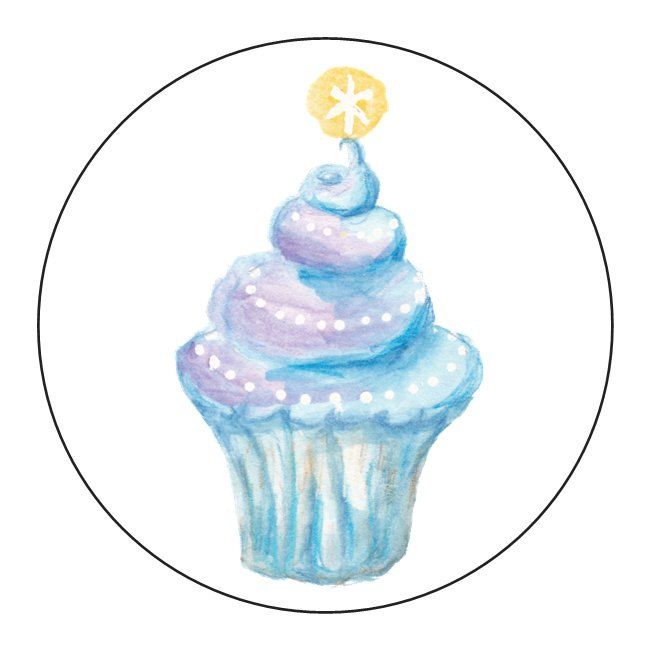 Star Cupcake Blue Stickers - 1 Sheet of 24 by OrangePeelPaperie on Etsy