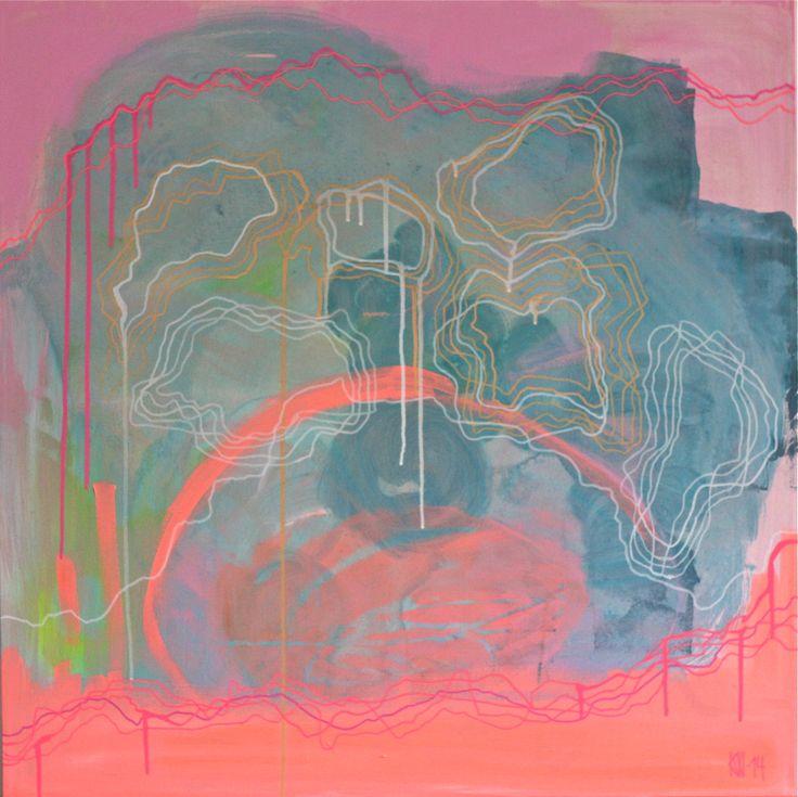 """""""Map"""" Kaja Weum – Acrylic on canvas 80cm * 80cm"""