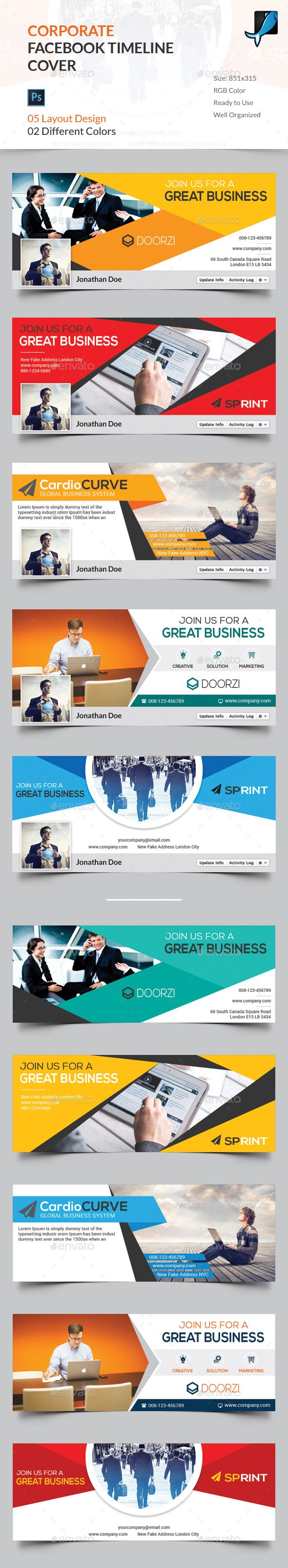 5 Corporate Facebook Timeline Cover Templates PSD. Download here: http://graphicriver.net/item/05-corporate-facebook-timeline-cover/15956524?ref=ksioks