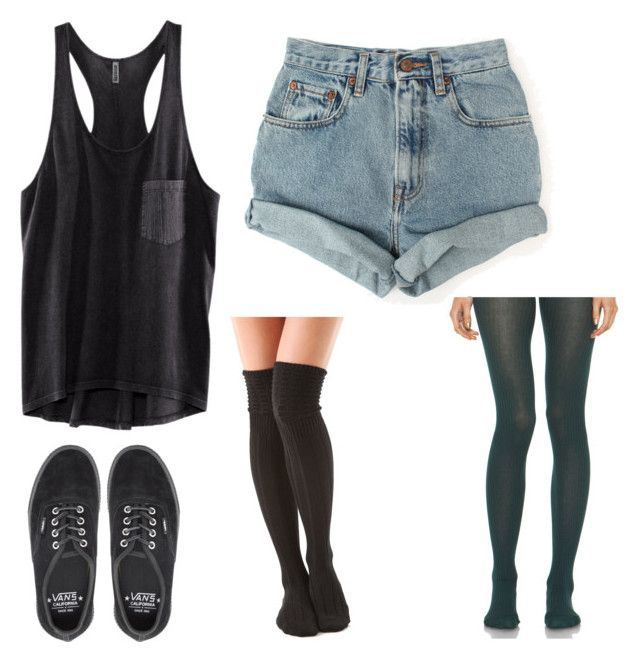 """MGK concert outfit :)"" by amourpale ❤ liked on Polyvore featuring H&M, Levi's, Falke, Vans, A.P.C., women's clothing, women, female, woman and misses"