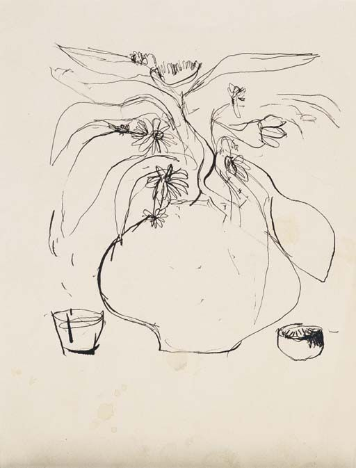 BRETT WHITELEY (1939-1992) VASE OF FLOWERS WITH TWO BOWLS