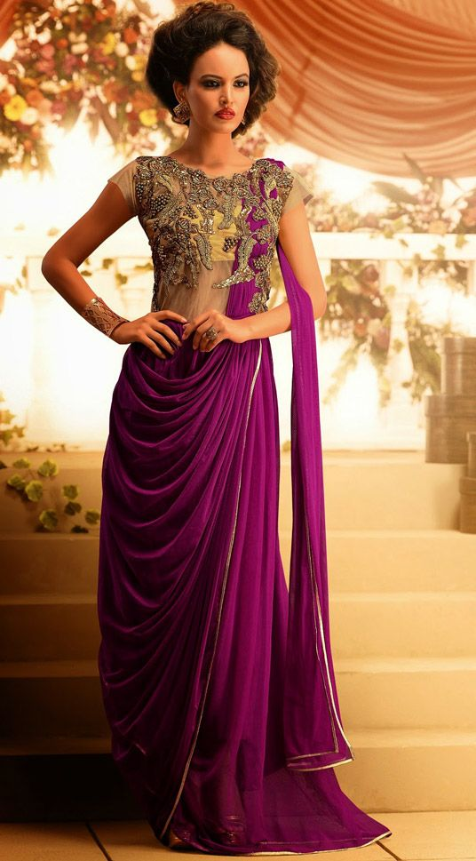 these looked really pretty when i saw them in person- they are a single dress but looked like a sari- maybe for bridesmaids? look indian, but easy to wear!