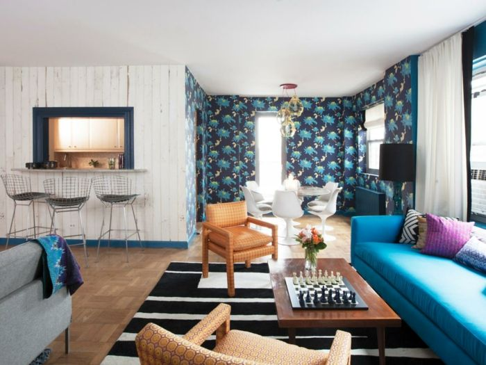 Nice wohnzimmer tapeten ideen teppich schwarz wei offener wohnplan