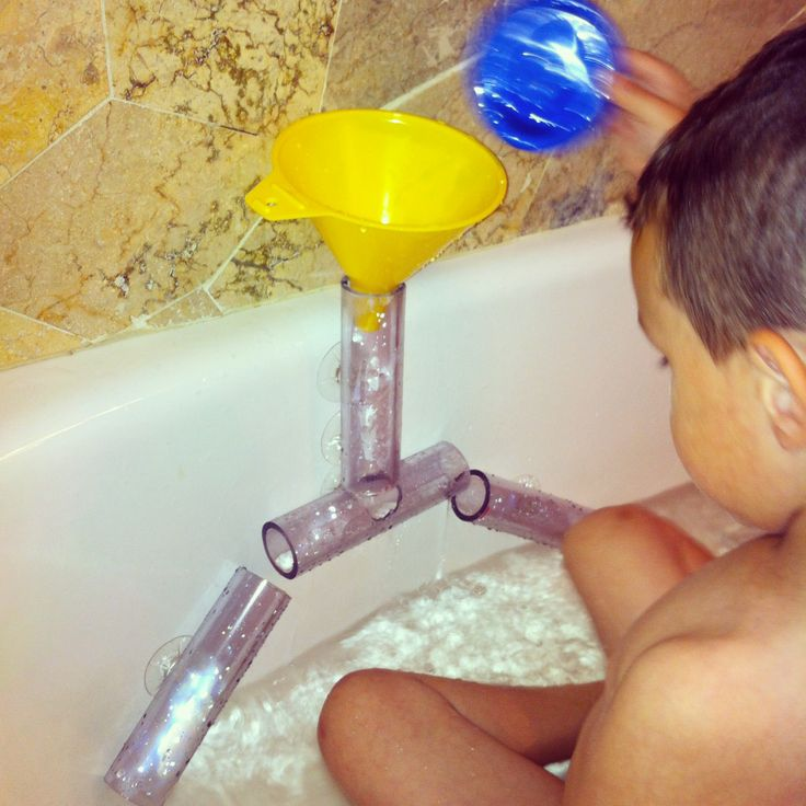 DIY bath toy. Made a funnel system for the bath but used clear PVC pipes instead. Directions in link.