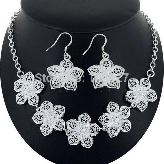 Купить оптом оптовая 925 серебряные ожерелья кулоны мода серебряная капля серьги бижутерия снежный цветок ожерелье серьги набор рождественский подарок в категории ожерелье с подвеской по цене $7.9 на Ru.dhgate.com