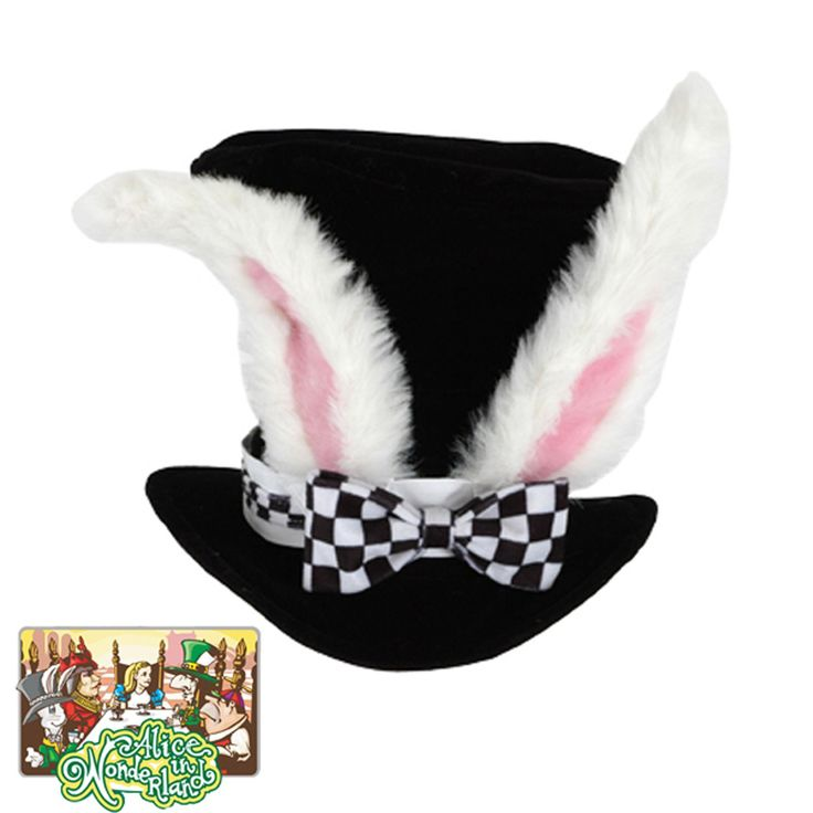 Alice In Wonderland Classic White Rabbit Hat - Adult Size :  Take a journey to Wonderland as the White Rabbit in this classic hat complete with oversized faux fur ears!  Hat Circumference is 66 cm.
