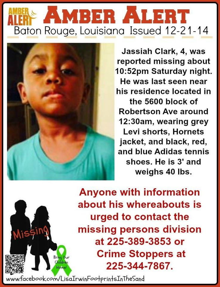 AMBER ALERT! 12/21/2014: Jassiah Clark, age 4, is #missing from Baton Rouge, Louisiana. He was last seen on 12/20/2014 about 12:30 p.m. near his residence located in the 5600 block of Robertson Avenue. ***Thank you for repinning!