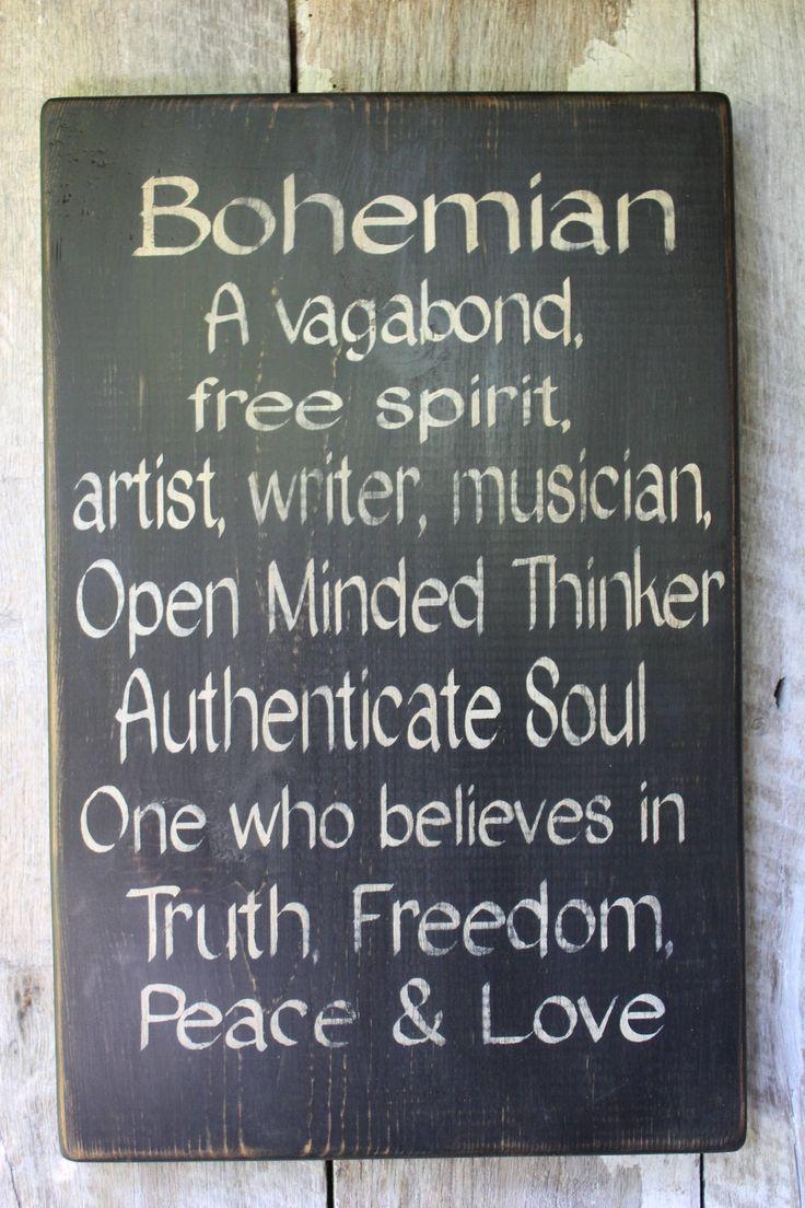 Bohemian Definition Wood Sign Gypsy Art Free Spiri…