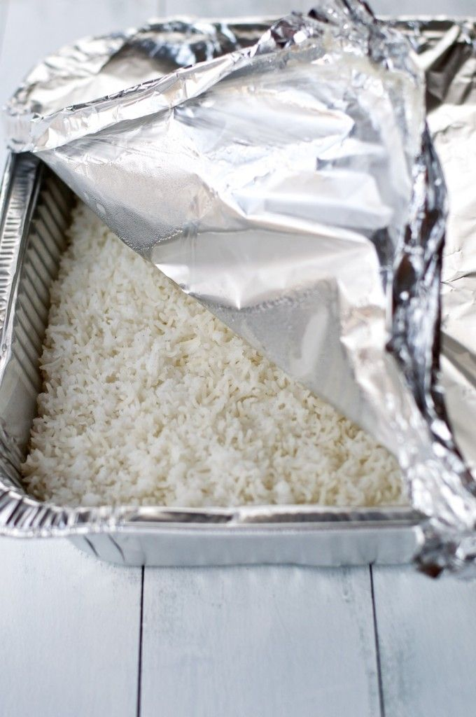 Easiest Way To Cook Rice-bake it in the oven, um minus the plastic wrap melting! It is great if you want to make a huge batch of rice ahead of time for many dishes, but otherwise, I'll stick to just cooking it the old fashioned way