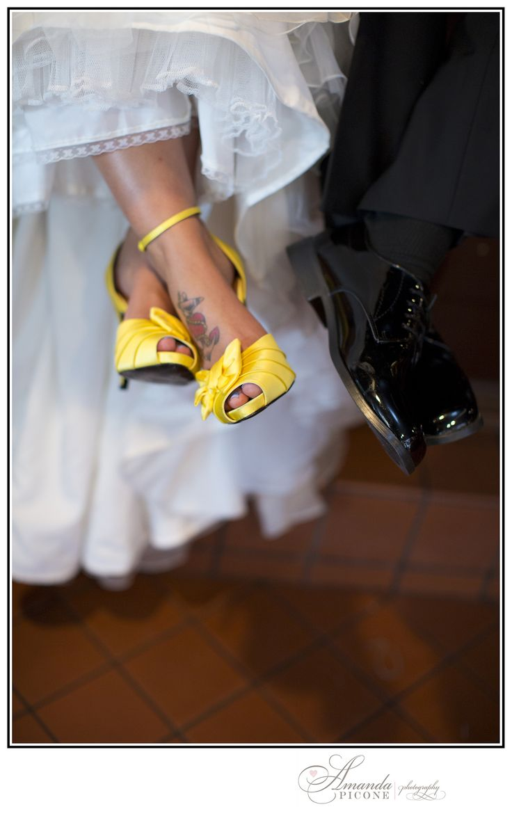 Loved this bride Jenn and her yellow wedding shoes!!  Long Island, New York wedding.  Yellow, white and black.  Black patent wedding shoes for the groom.