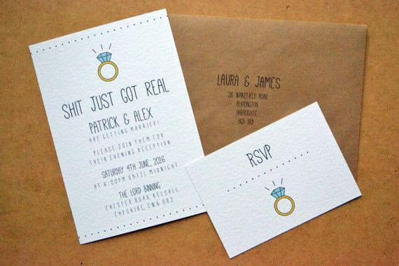 """SAMPLE ONLY  - Wedding Invitation - """"Shit Just Got Real"""" A5 Invite, Recycled Kraft C5 Envelope, A6 RSVP Postcard with Ring Sketch Funny Joke"""
