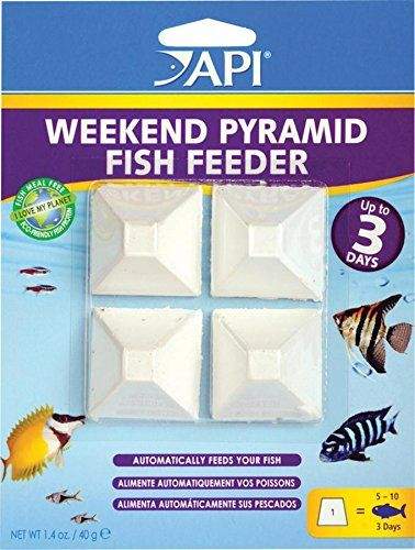 API WEEKEND PYRAMID FISH FEEDER 3-Day Automatic Fish Feeder - The 3-day API WEEKEND PYRAMID FISH FEEDER contains nutritious food pellets that are released slowly as the pyramid dissolves. It is made with superior nutritional ingredients to feed all tropical, coldwater and marine aquarium fish while you're away for up to three days, making this automatic fee...