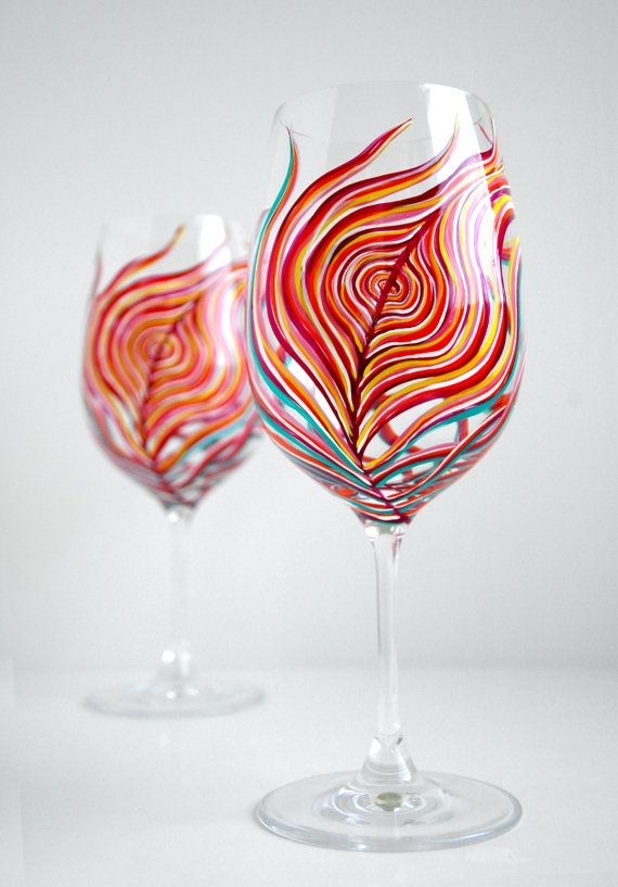 Neon Peacock Feather Wine Glasses--Set of 2 by Mary Elizabeth Arts