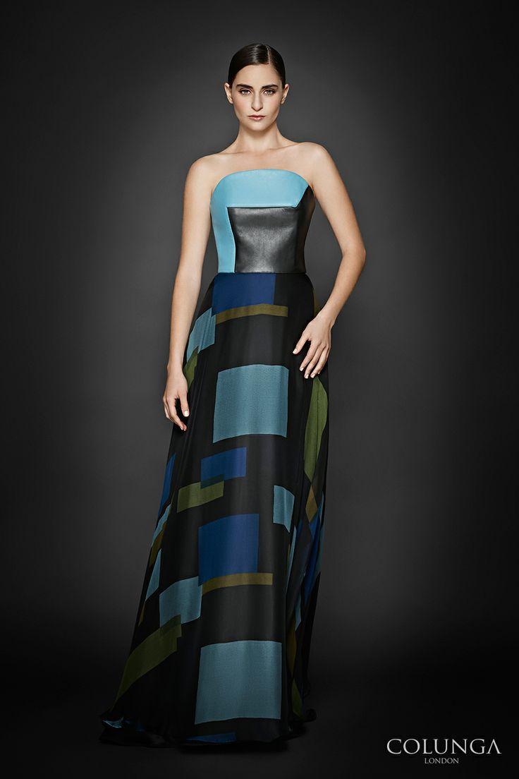Joan de Lame. Gown of silk satin, leather and silk chiffon.