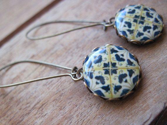 Azulejos tiles of Portugal, blue and white earrings, dangle earrings, drop earrings, majolica long earrings, Portuguese wedding, World style...