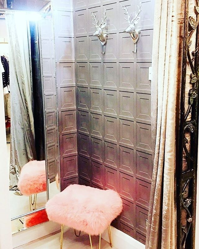 """Repost from @chicmyroom 💖🐑 . """"Absolutely LOVING the new look in the dressing rooms of @crystal_boutique_armagh 💕Featuring our baby pink Judy @baastool ( ITS SO FLUFFFFFFFFFFFY) and Stag coat hangers! Such an on trend and fresh look for this amazing boutique 💕 . #chicmyroom #crystalboutique #baastool #sheepskin #stag #staglove #northernireland #armagh #irishboutique #niblogger #irishinteriors#interiorstyling #dressingroomgoals #babypink #colourpop #revamp #newlook #trending…"""