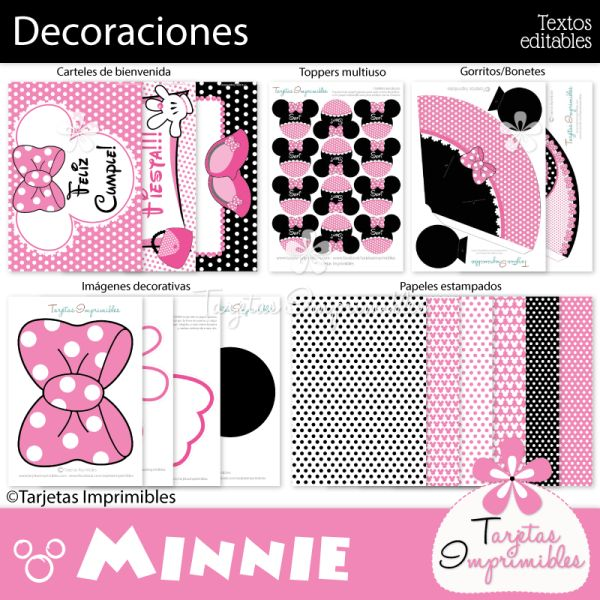 Decoraciones de fiesta para imprimir minnie mouse rosa - Decoracion fiesta rosa ...