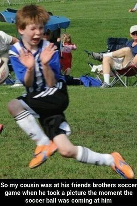 HAHAHAHAHAHAHA.....this kid needs a new sport......or a swig of courage, cause that ain't how you play the game. :)