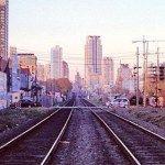 A linha do trem que divide Palermo Viejo de Palermo Hollywood em Buenos Aires