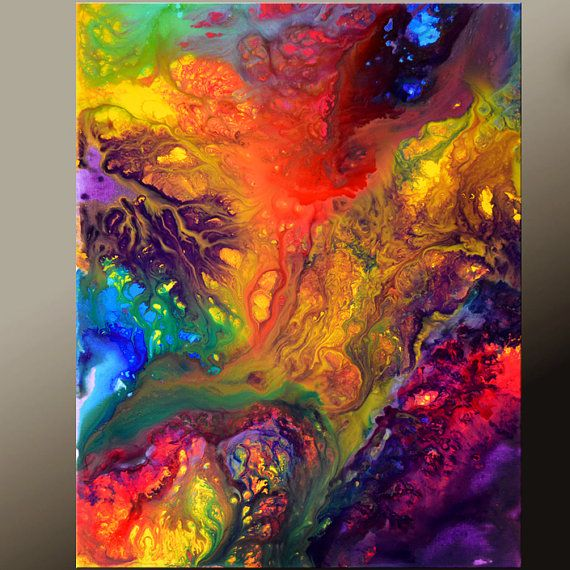 """Abstract Canvas Art 18x24 Original """"Beyond Imagination"""" in vibrant colors $75"""