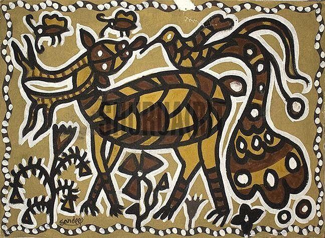 A Sohrai Painting | Folk art painting, Indian folk art, Art