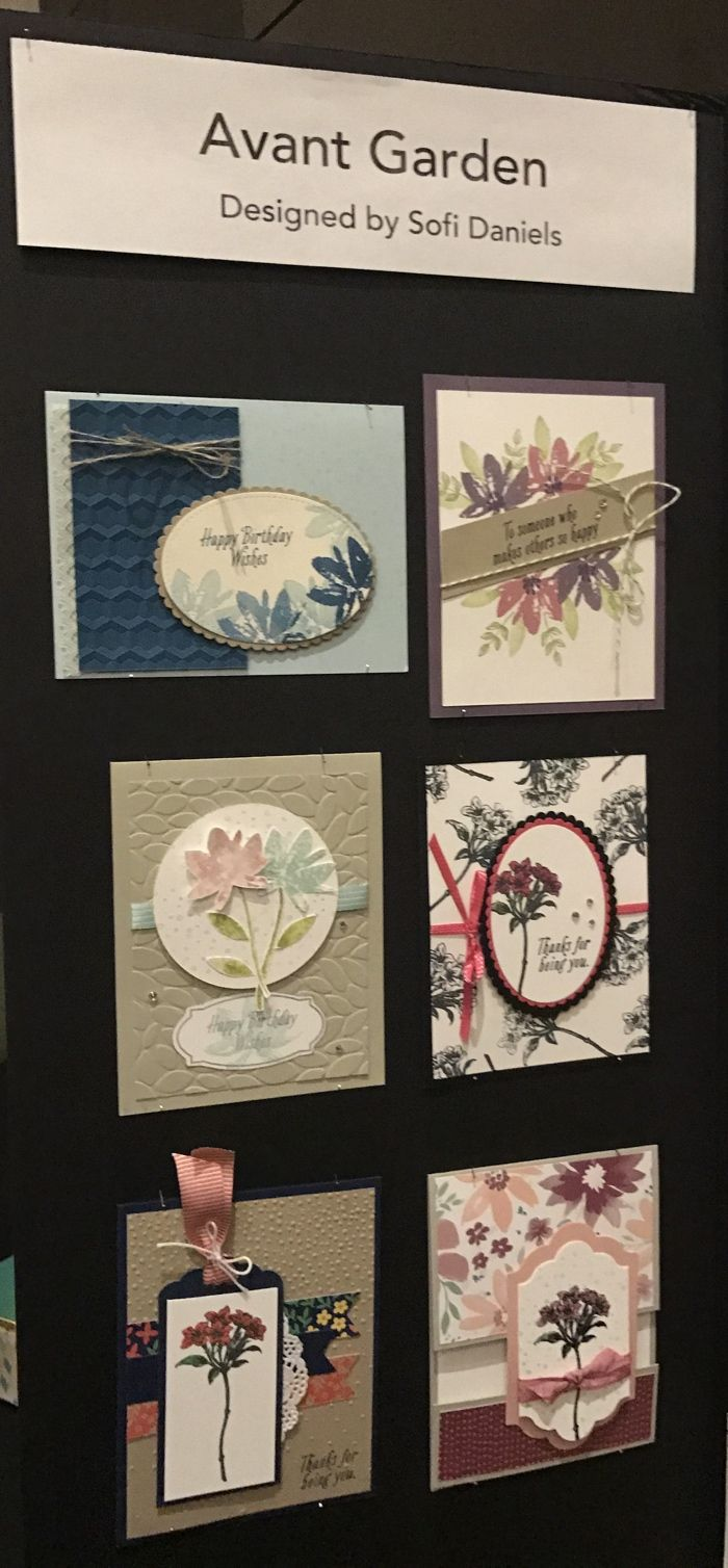 """The """"Avant Garden"""" stamp set is from the Stampin' Up! 2017 Sale-a-bration Catalogue. This display was made by Canadian Sofi Daniels!"""