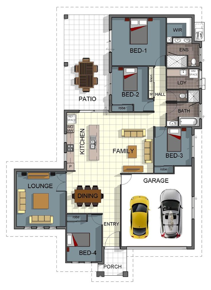 Single storey 4 bedroom house floorplan with additional