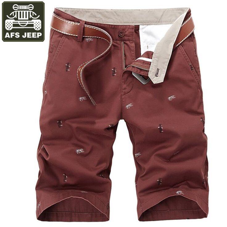 AFS JEEP Cargo Shorts Men Print Bermuda Moletom Masculino Summer Casual Cotton Short Masculino Shorts Plus Size 30-44 No Belt