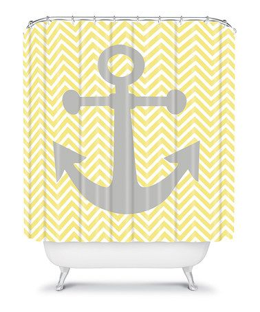 Take a look at this Yellow Anchor Shower Curtain by Lara Kulpa & DENY Designs on #zulily today!