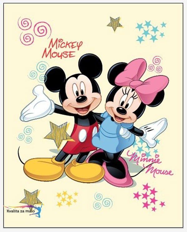 Detská fleece deka Mickey a Minnie 120/150 je príjemná, hrejivá deka so známou dvojicou myšiek. Deka fleece Mickey a Minnie je vyrobená zo 100% Polyesteru. Detská deka fleece Mickey a Minnie je dodávaná v rozmere 120x150cm.
