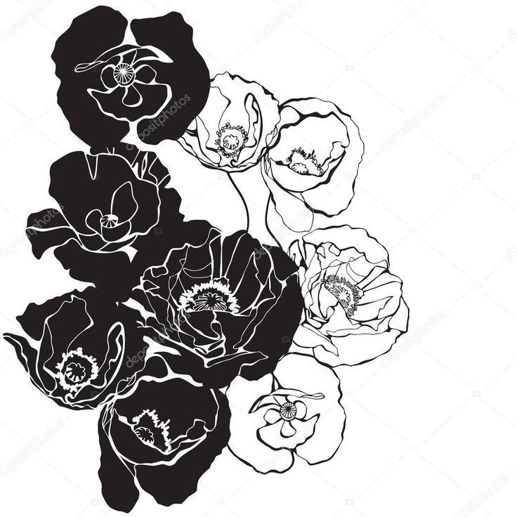 картинки цветы векторные черно белые: 12 тыс изображений ...