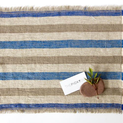 Washed Pure Linen Placemat. Gorgeous striped pattern in Blue, Natural and Beige colours.