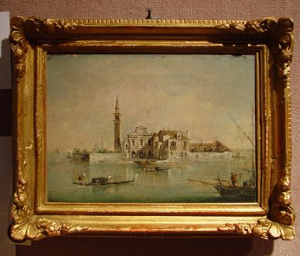 """""""Capriccio with a Church and Tower, a Fishing Boat and Gondolas in the Foreground,"""" by Francesco Guardi, oil on panel, 7 by 9 1/2 inches"""