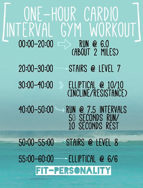 New cardio workout I have been doing about once a week at the gym! When I do it, I burn close to 750 calories and I am absolutely DRENCHED in sweat (which is good!). If you guys try it, let me know how it is for you. Tweet me or send me a message :)