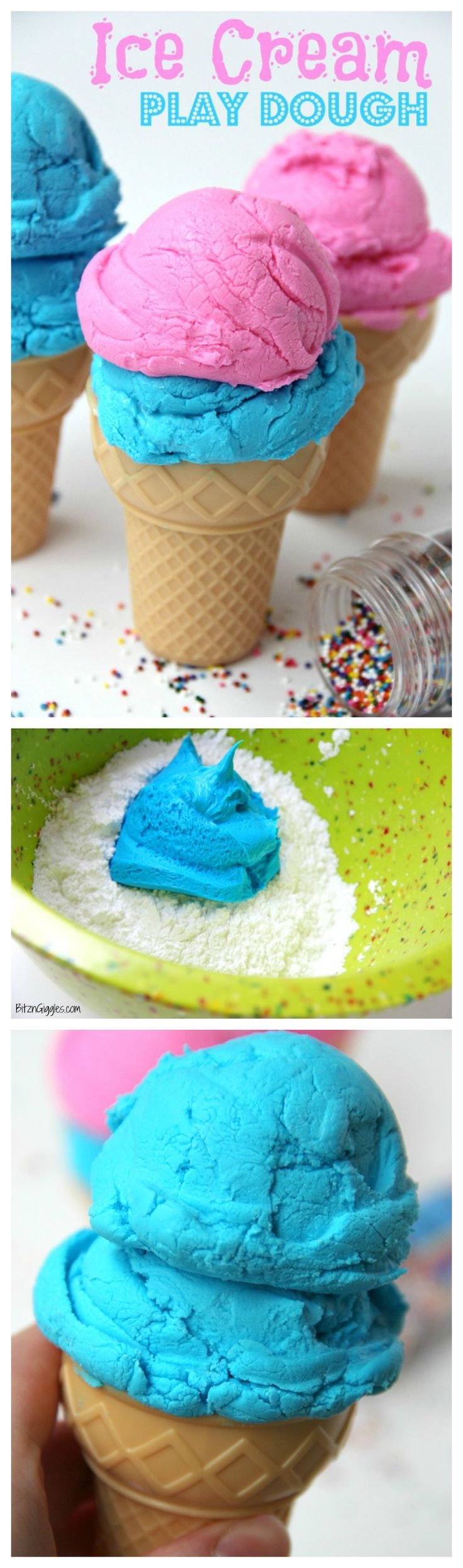 Ice Cream Play Dough - A two-ingredient 100% edible play dough that looks JUST like ice cream!