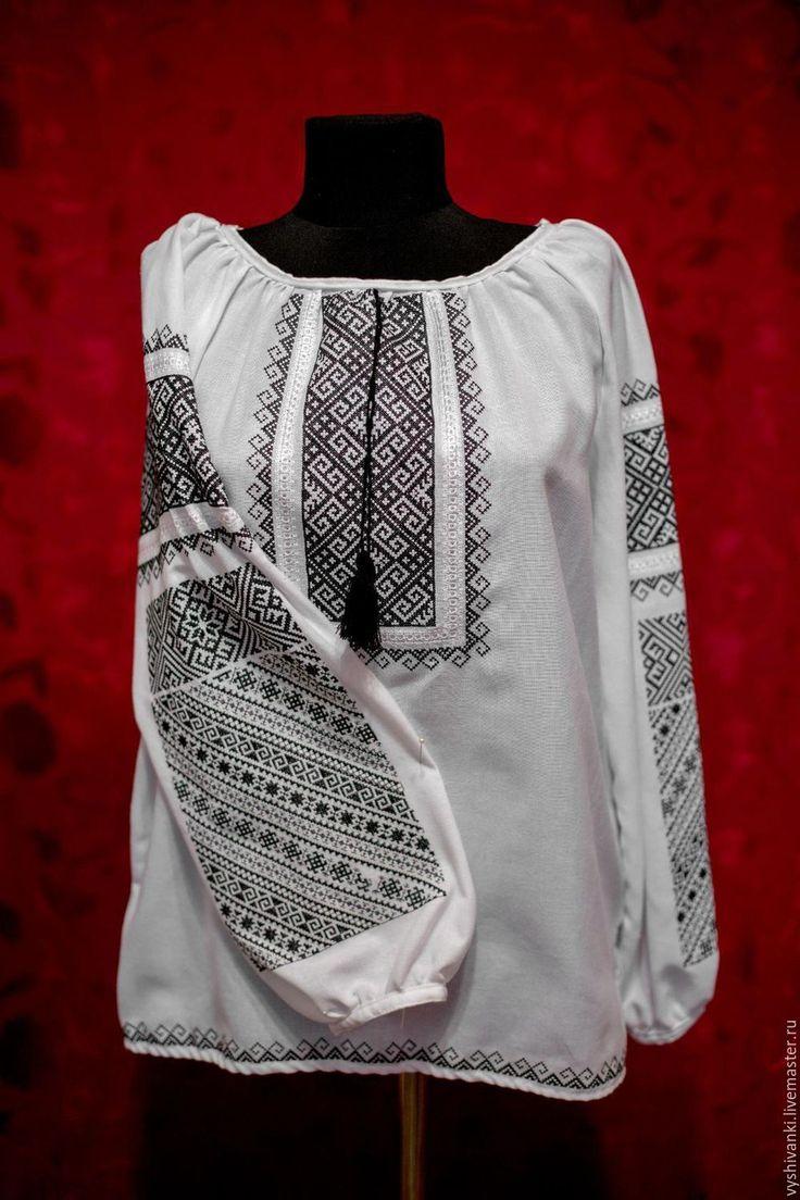 Купить Красивая шифоновая вышиванка для женщины - белый, шифон, вышивка, Вышиванка, вышивка крестиком