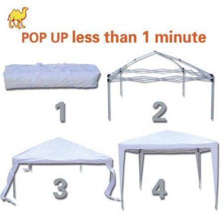 10'X13'EZ POP UP Folding Gazebo Camping Canopy W/Carry Bag Wedding Party Tent, White