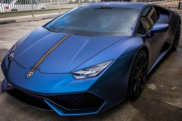 Instagram media by stickercity - @onebad458 has done it again !! Lamborghini Huracán wrapped in Matte Purple / Blue Iridescent with orange center stripe to compliment his calipers.  Thank you for trusting us again ! #Lamborghini #Huracan #mattepurpleblueiridescent