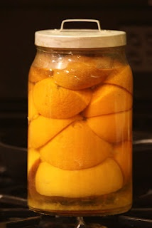 Homemade Citrus Vinegar Cleaner   ~~  Squeeze the juice out of 6 grapefruits or 8 oranges (or 12 lemons or limes).  Place leftover rinds into glass jar and over with white vinegar.  Put lid on and let sit for 2 weeks.  Remove rinds, strain liquid and store in glass jar.  Use diluted 1:1 water to citrus vinegar in a spray bottle.  Cleans kitchens, bathrooms, floors and more.